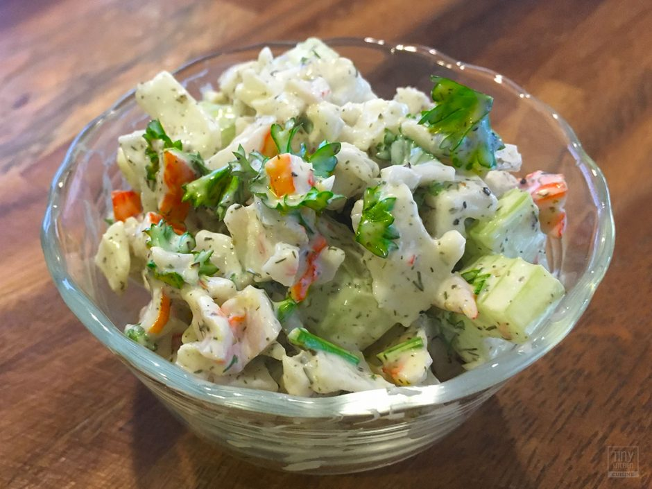 This easy Imitation Crab Salad recipe is a tasty seafood salad that is low in calories and packs a nice crunch.   Tiny Kitchen Cuisine   https://tiny.kitchen