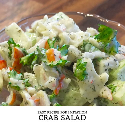 This easy Imitation Crab Salad recipe is a tasty seafood salad that is low in calories and packs a nice crunch. | Tiny Kitchen Cuisine | http://tiny.kitchen