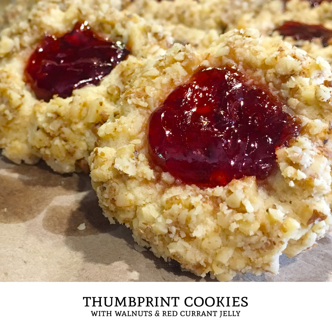 Thumbprint cookies are cookies with a dollop of jam in their center. This is one of the best cookie recipes for walnut thumbprint cookies. Just add jam! | Tiny Kitchen Cuisine | https://tiny.kitchen